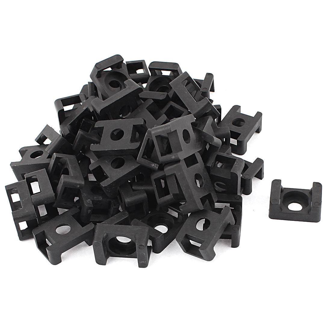 9mm Width Cable Zip Tie Mount Base Plastic Saddle Type Wire Holder Black 50Pcs