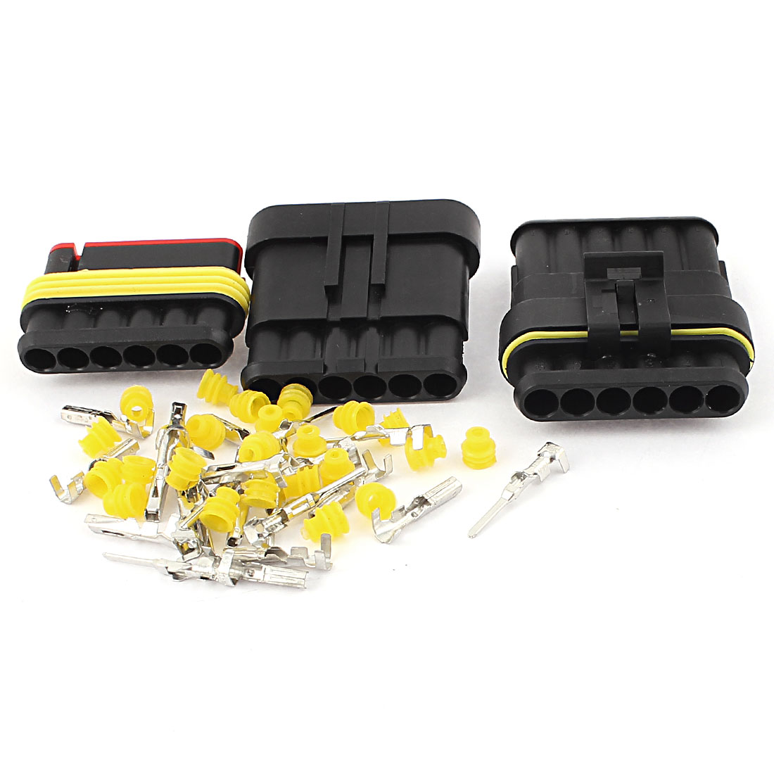 2 Set HID 6P Way Terminals Sealed Waterproof Electrical Wire Lead Connector Adapter