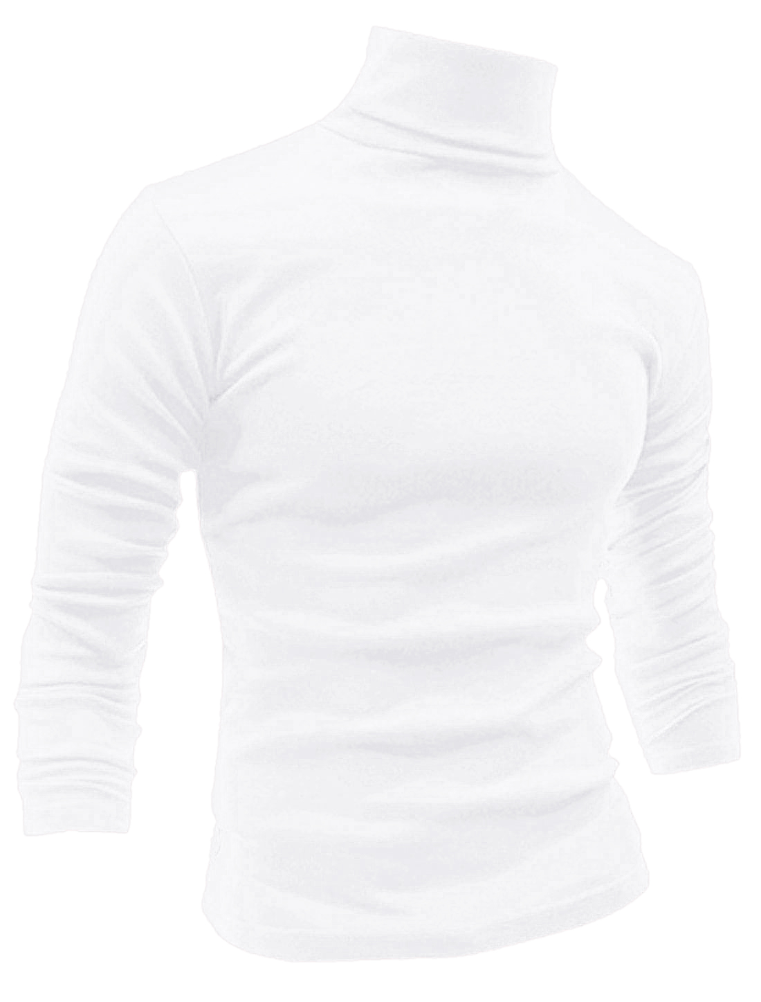 Men Long Sleeve Turtle Neck Slim Fit Casual T-Shirts White L