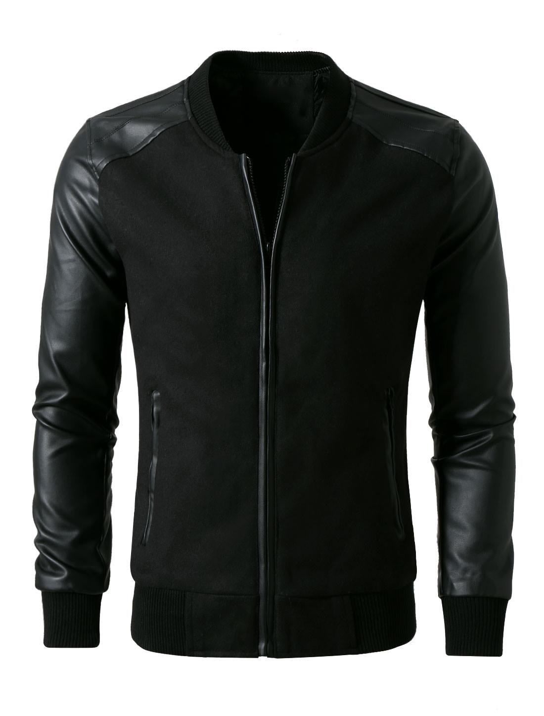 Men Imitation Leather Panel Rib Knit Trim Baseball Jacket Black L