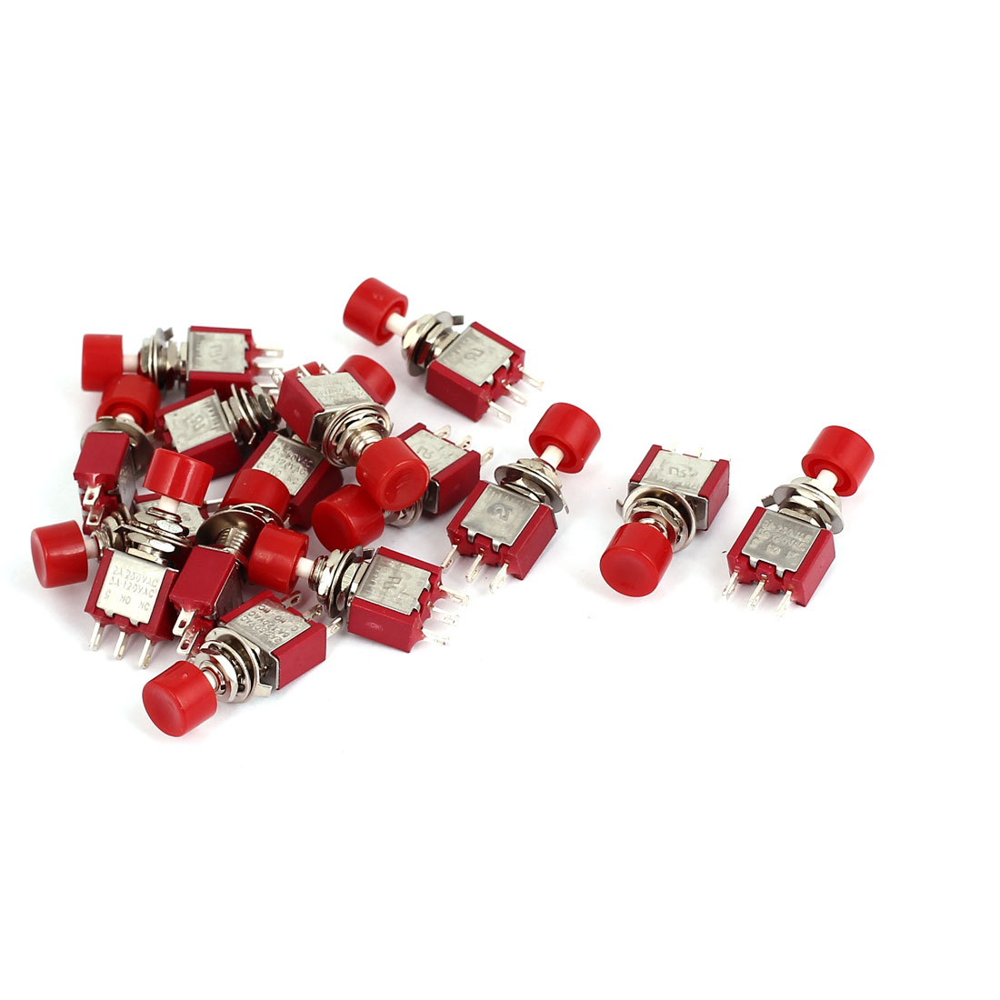 AC 120V 5A/ AC 250V 2A SPDT 2 Positions Momentary Mini Push Button Switch 15Pcs