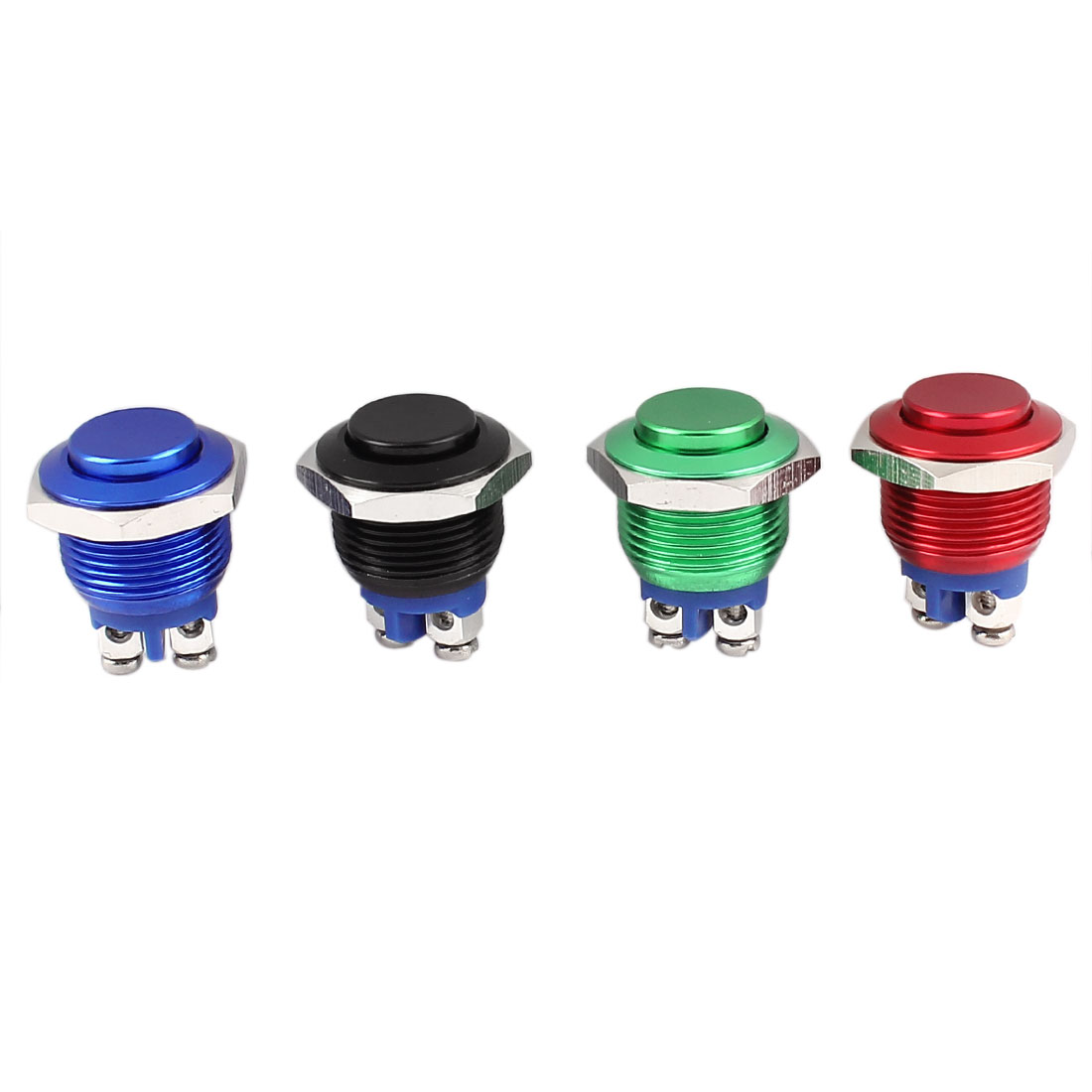 4Pcs 16mm Mounted Thread SPST Momentary Galvanized High Head Push Button Switch Set