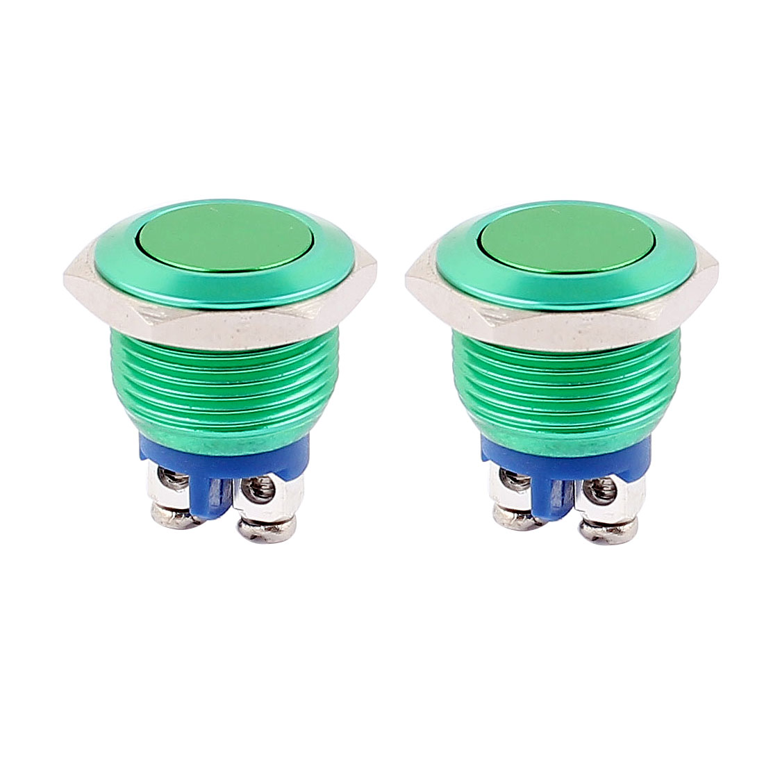 2Pcs 16mm Mounted Thread SPST Momentary Galvanized Flat Head Push Button Switch Green