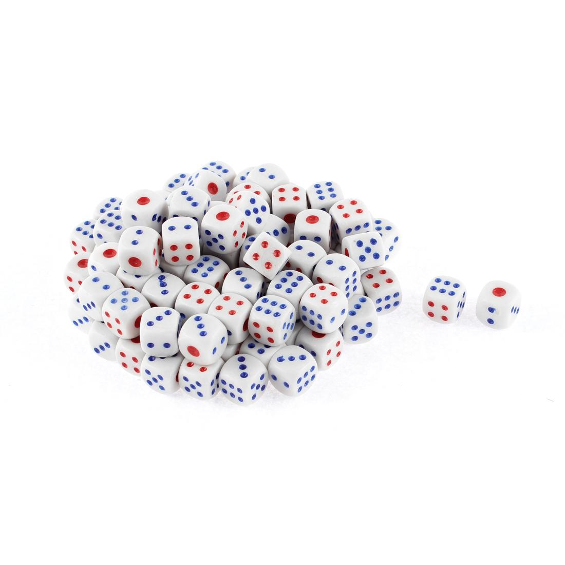 100 Pcs White Plastic Rounded Corner Gambling KTV Lucky Game Props Dices