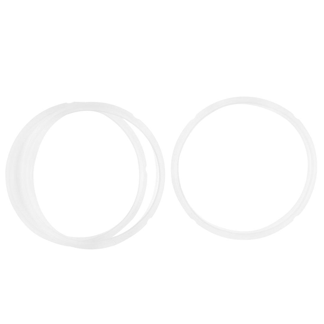 Gasket Sealing Ring for 3-4L Cooker Clear White 20cm Inner Dia 3 Pcs