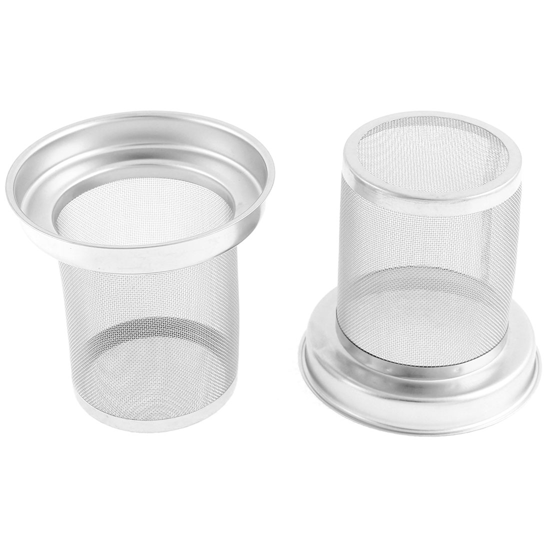 2 Pcs Stainless Steel Round Loose Tea Infuser Filter Strainer Sieve Cup Mug