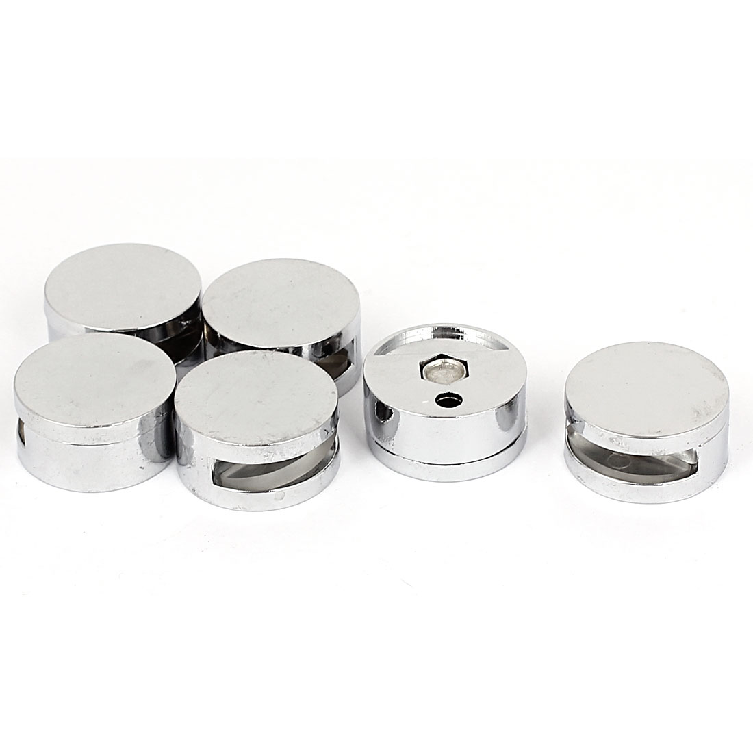 Round Shaped Zinc Alloy Clip Clamp Holder Silver Tone 6pcs for 3-5mm Thick Glass