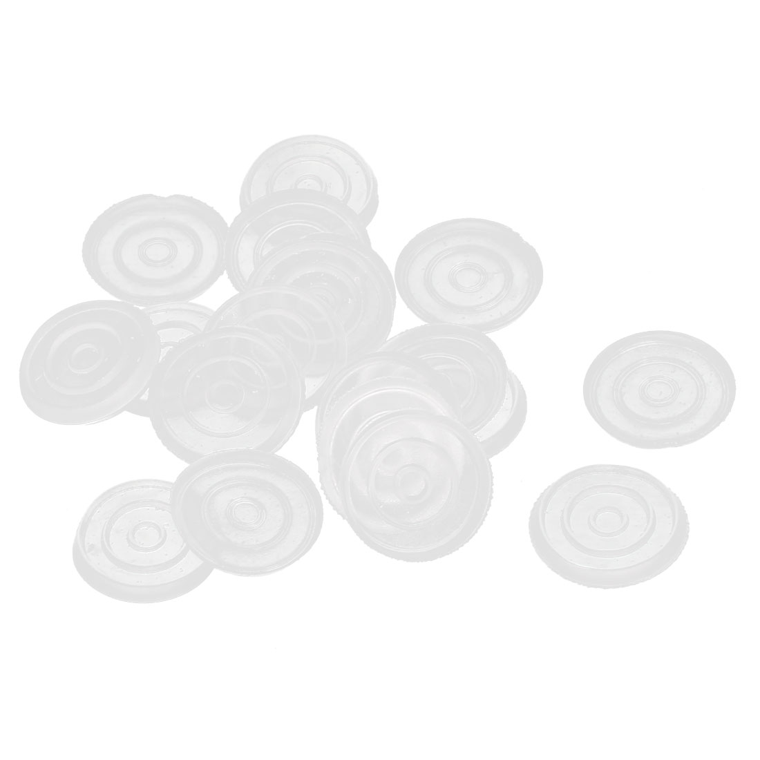 18mm Dia Round Clear Plastic Non-slip Glass Table Dash Mat Pad Cushion 20Pcs
