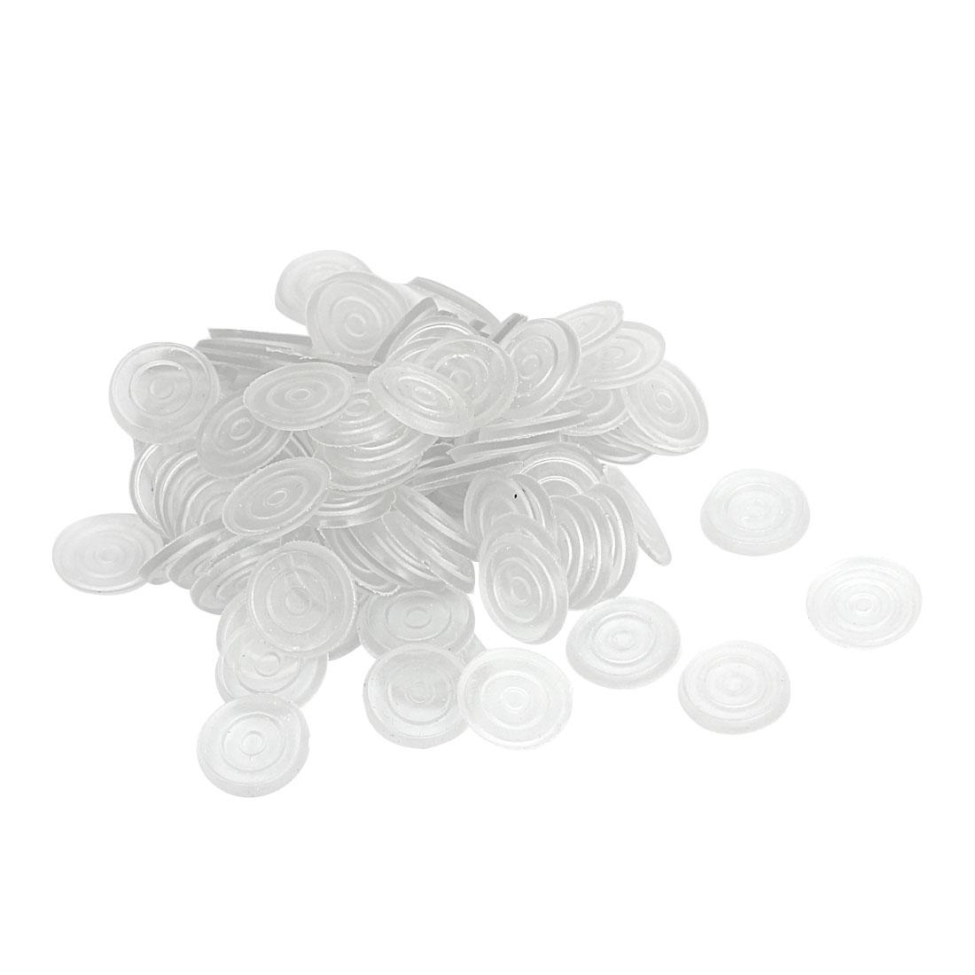 18mm Dia Round Clear Plastic Non-slip Glass Table Dash Mat Pad Cushion 100Pcs