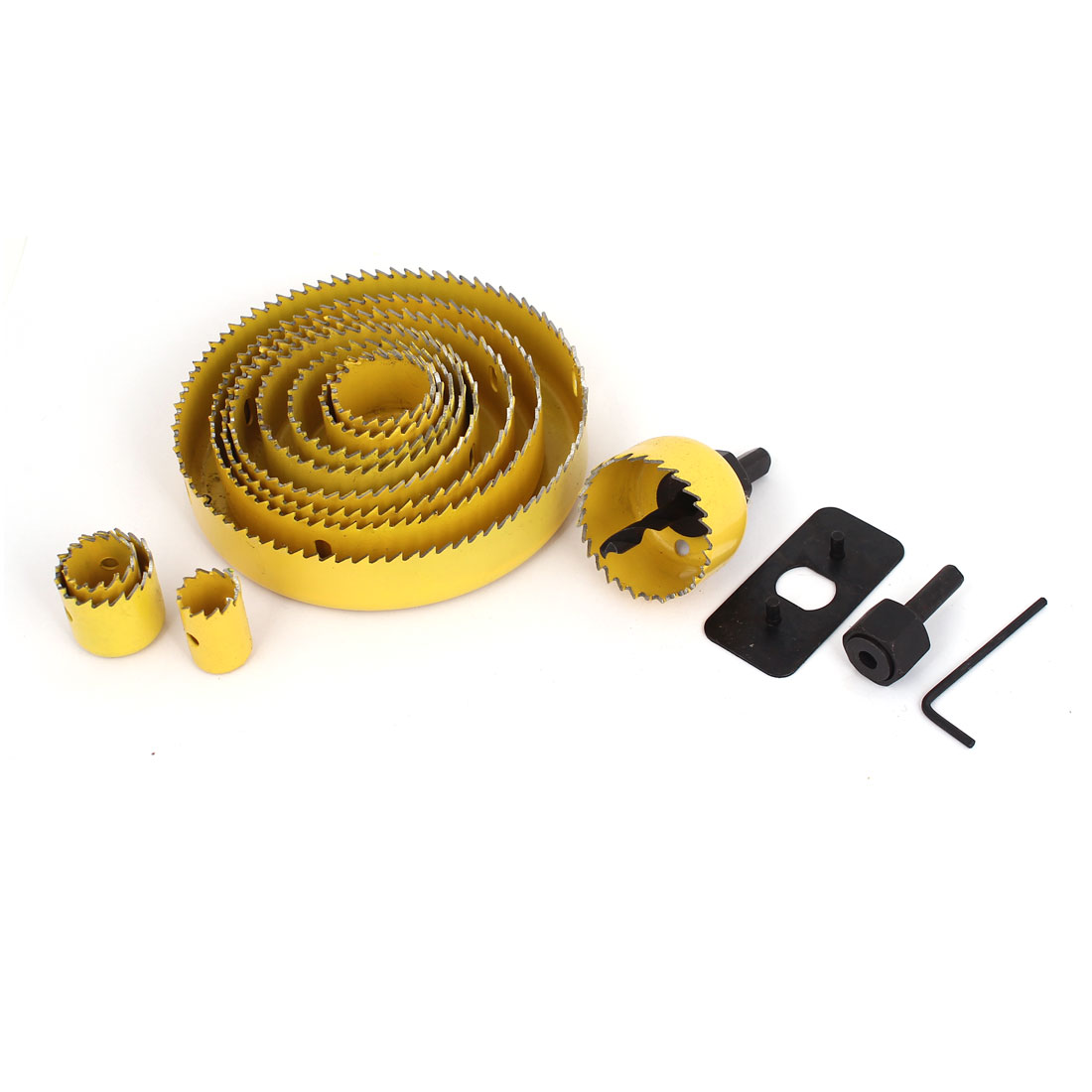 3/4 - 5 Inch Cut Dia Carbon Steel Drill Bit Hole Saw Set Kit 16 in 1 Yellow