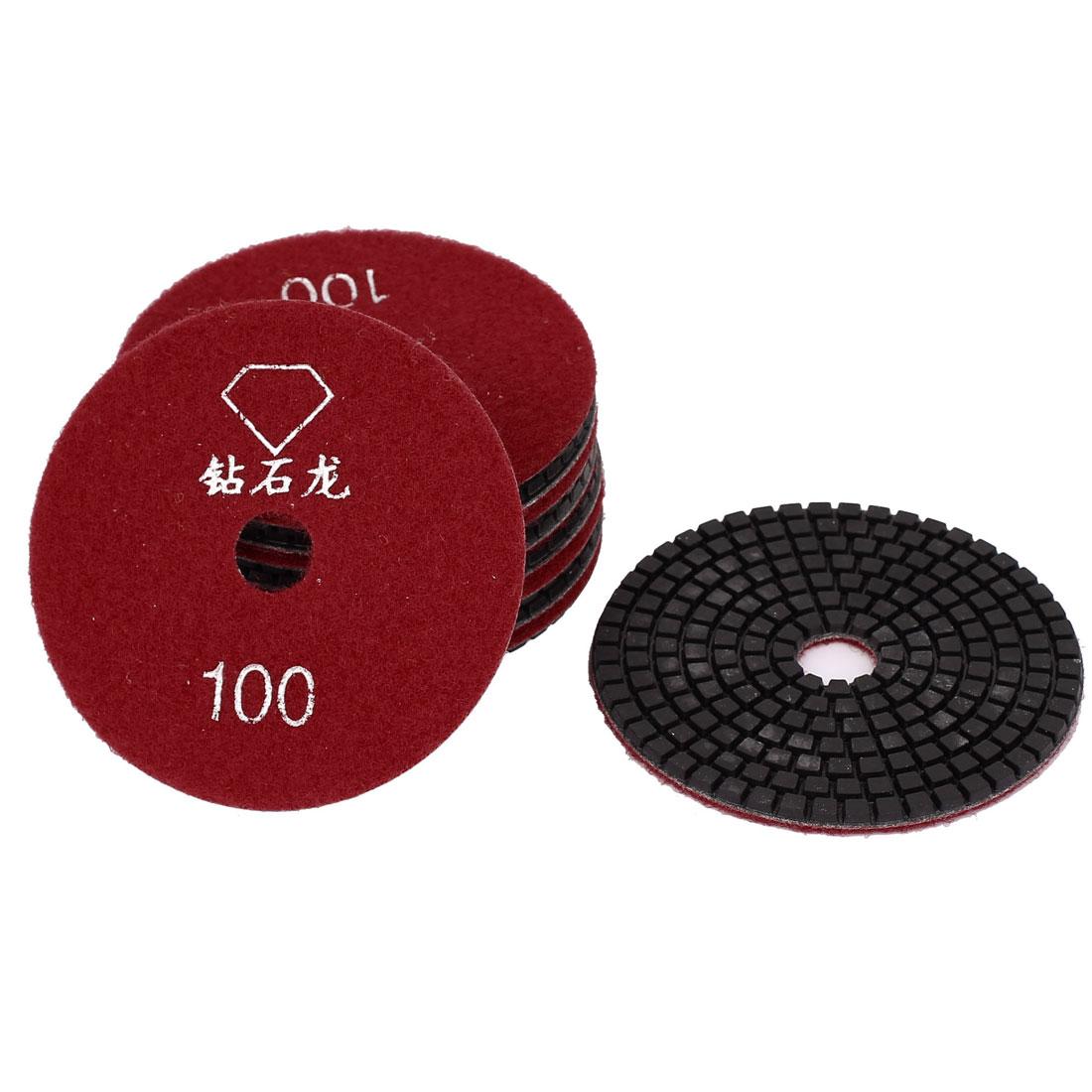 "Granite Marble Concrete 100 Grit 4"" Dia Wet Diamond Polishing Pads Red 10pcs"