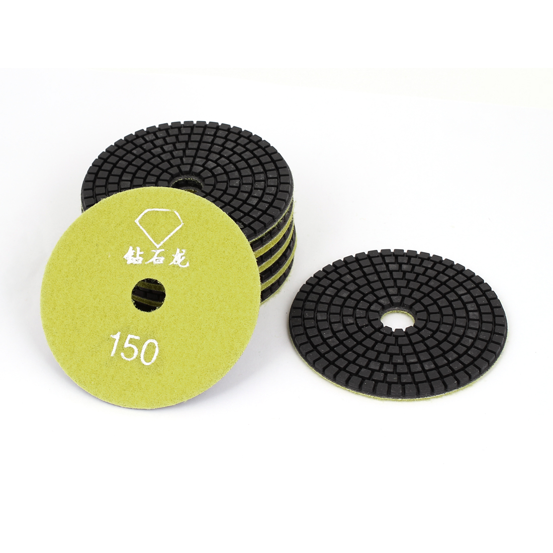 "Granite Marble Concrete 150 Grit 4"" Dia Wet Diamond Polishing Pads Yellow 10pcs"