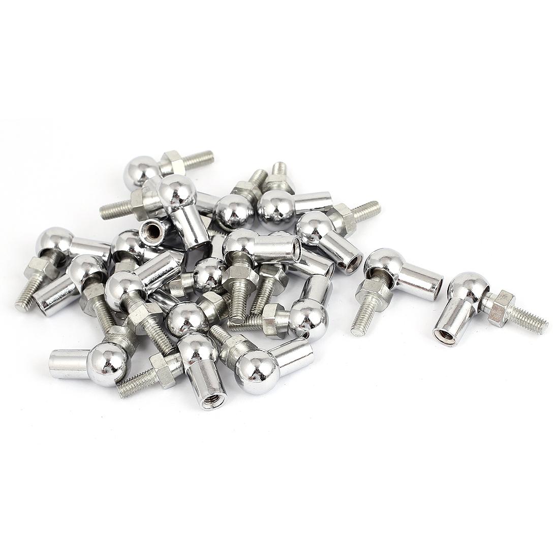 6mm Female 6mm Male Thread Dia L-Shape Rod End Bearing Silver Tone 20Pcs