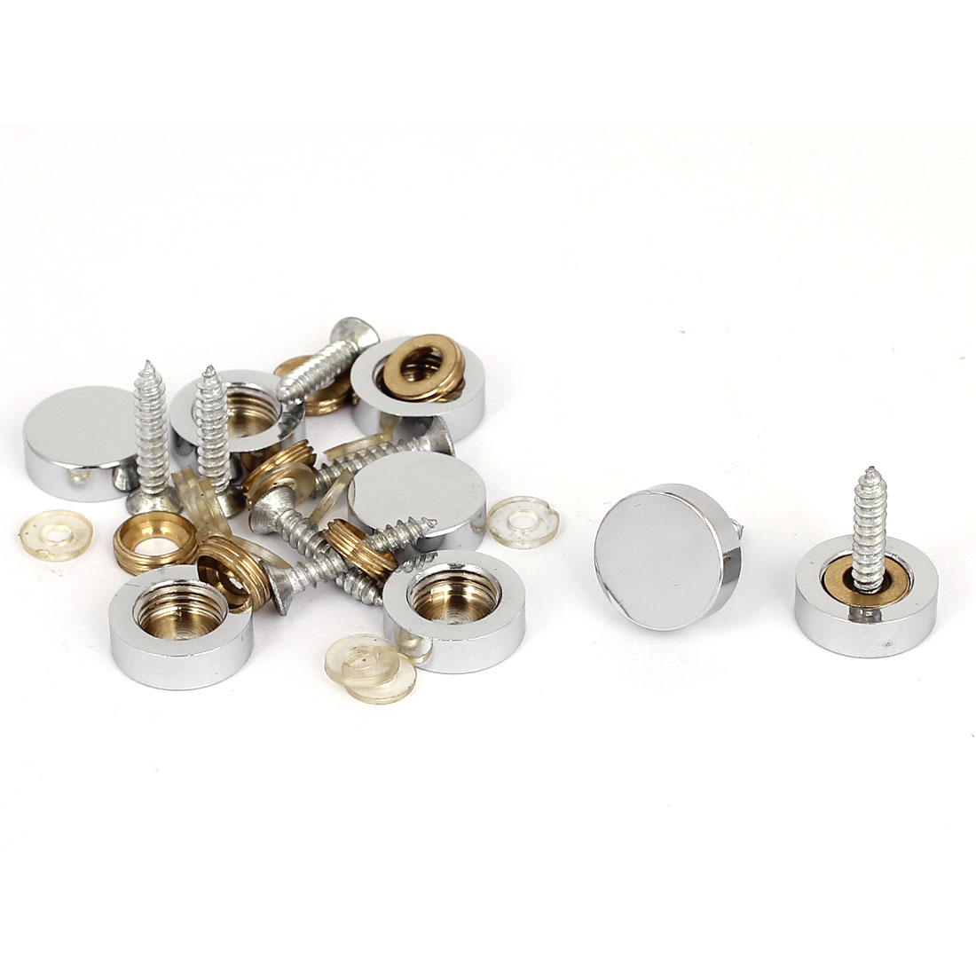 16mm Dia Advertising Glass Tea Table Decorative Metal Mirror Screw Nails 8Pcs