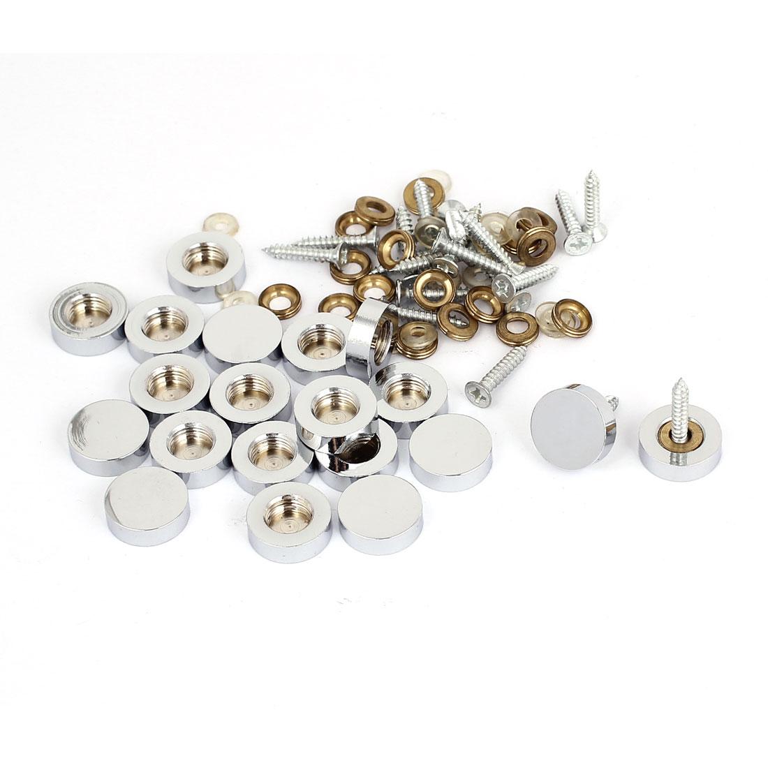 18mm Dia Advertising Glass Tea Table Decorative Metal Mirror Screw Nails 20Pcs