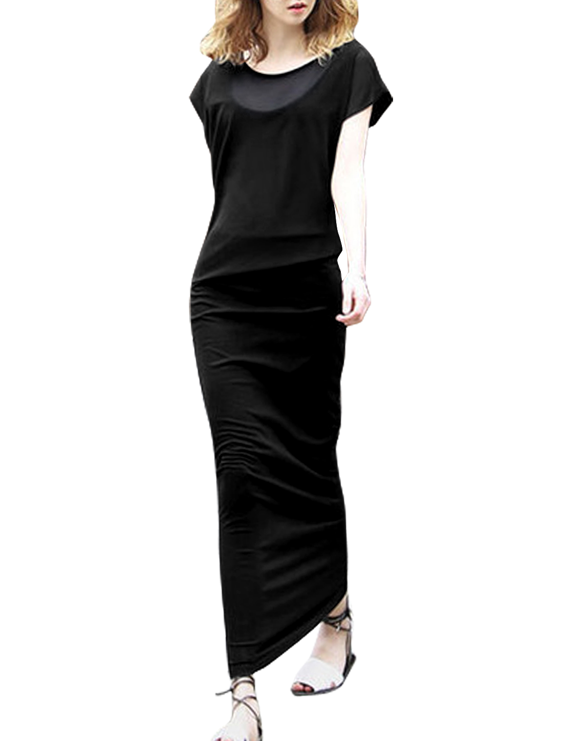 Women Cap Sleeve Layered Chiffon Paneled Casual Maxi Dress Black S