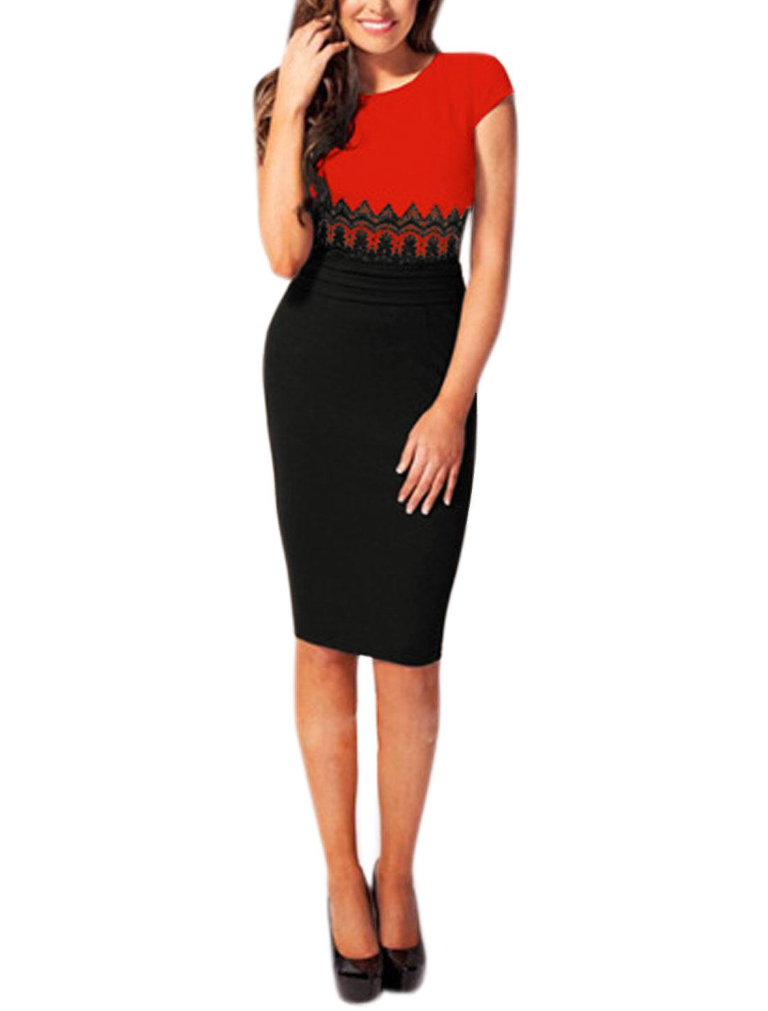 Women Panel Design Cap Sleeves Color Block Pencil Dress Red M