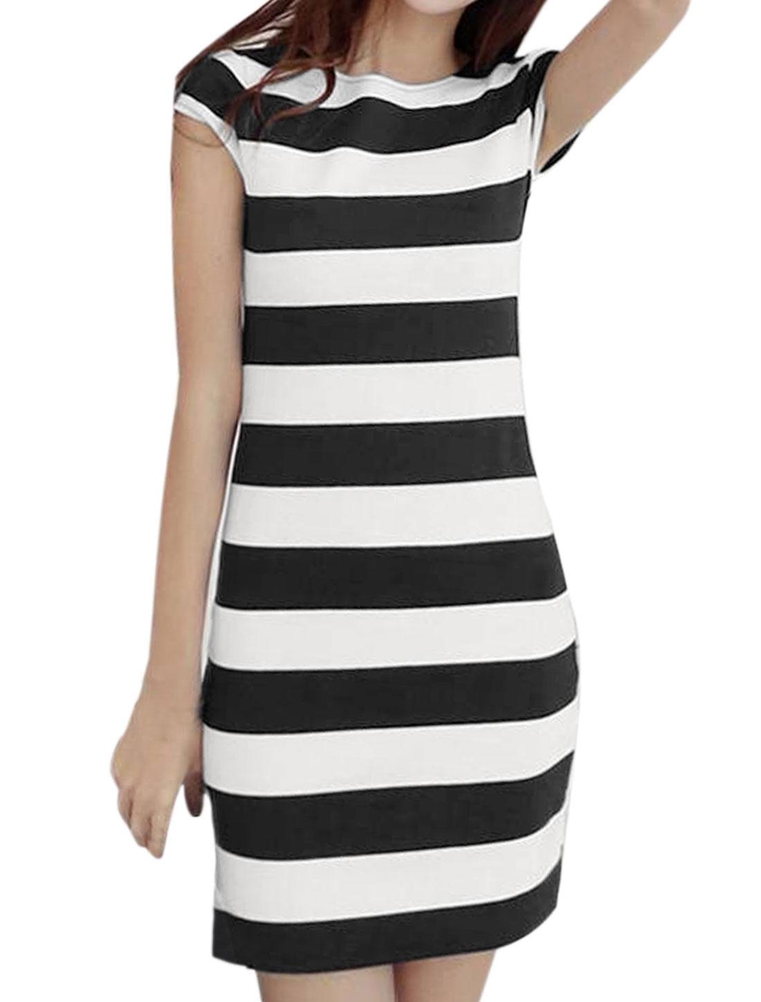 Women Crew Neck Open Back Short Sleeves Stripes Mini Dress White Black S