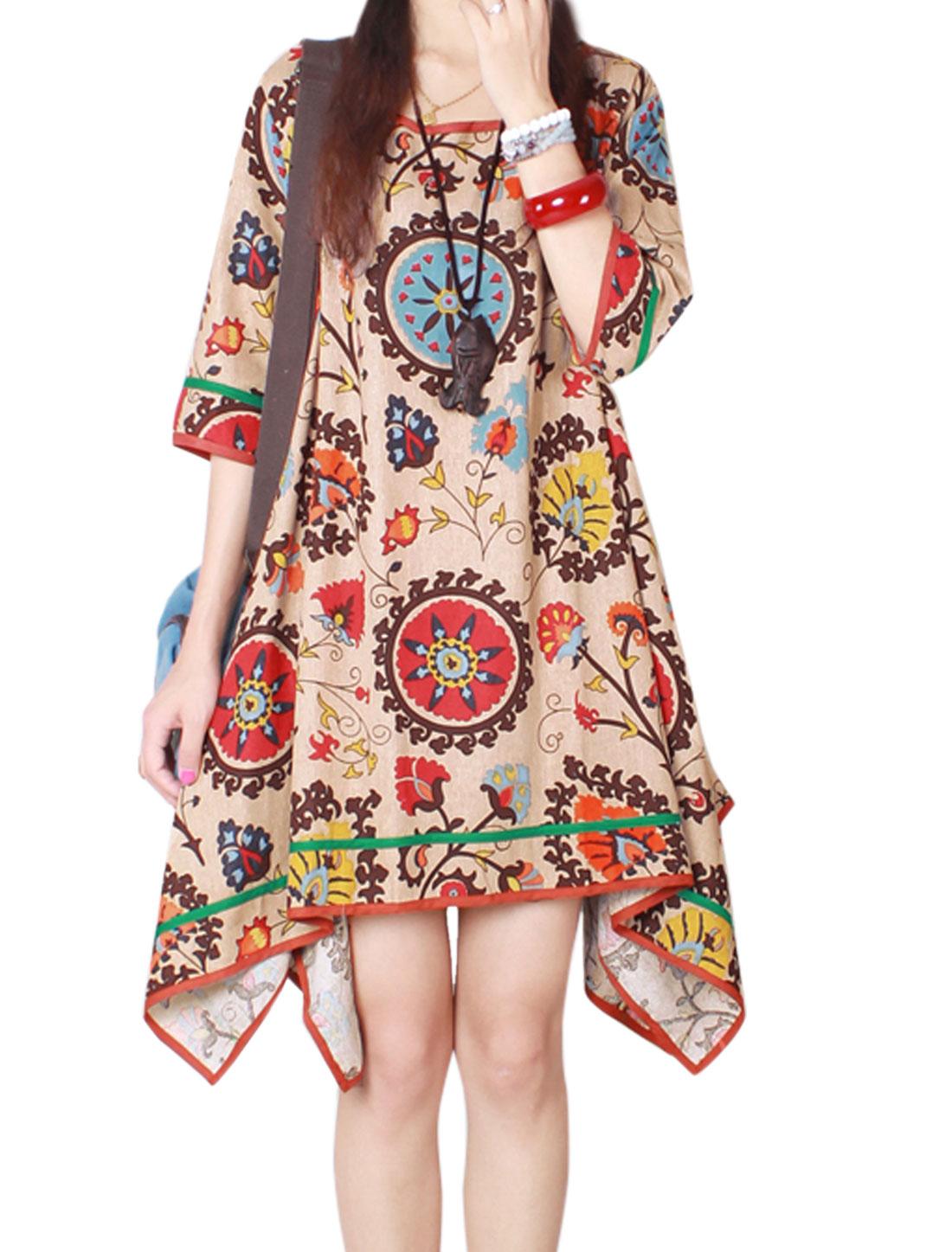 Women Irregular Hem Loose Floral Print Tunic Dress Khaki XS