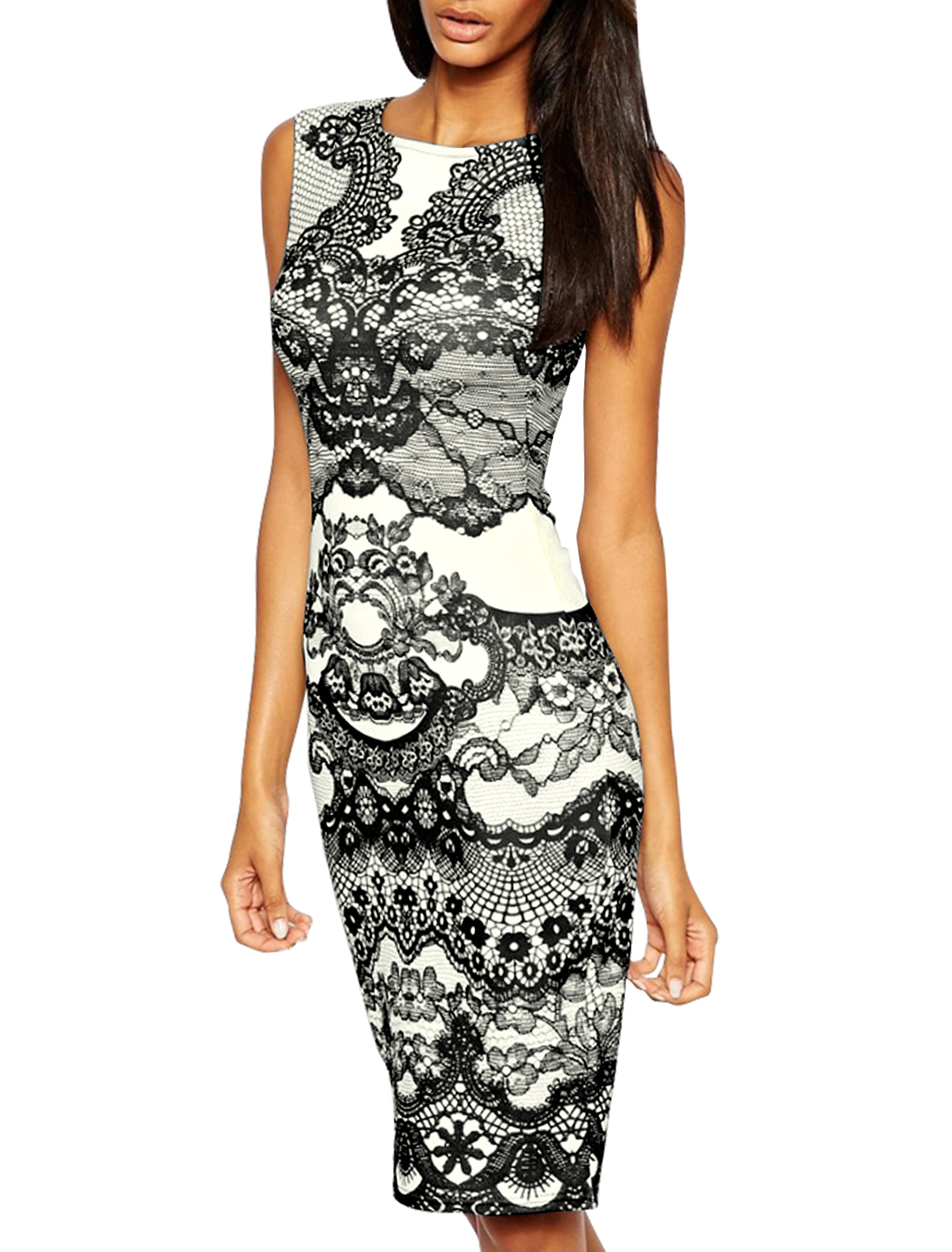 Women Crew Neck Sleeveless Floral Prints Sheath Dress Black M