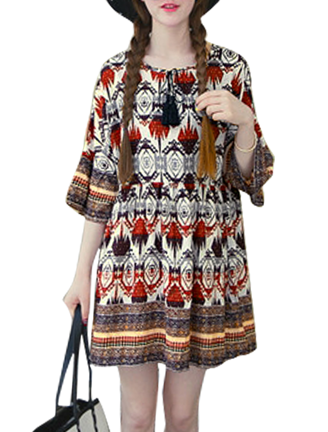 Women Dolman Sleeves Novelty Prints Tunic Dress White Red S