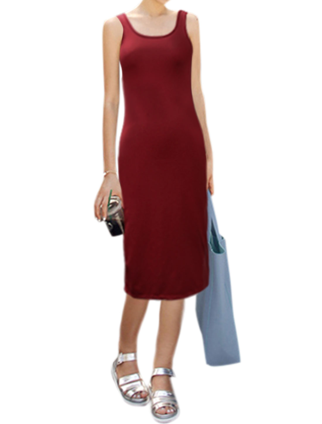 Women Deep U Neck Sleeveless Skinny Sheath Dress Burgundy L