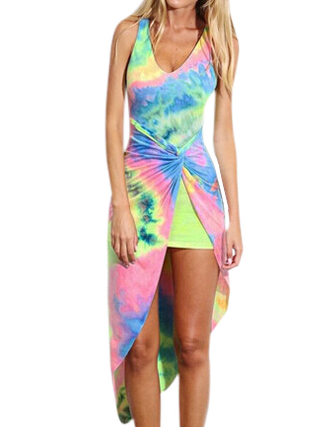 Women Scoop Neck Sleeveless Knot Front Sheath Dress Multicolor M