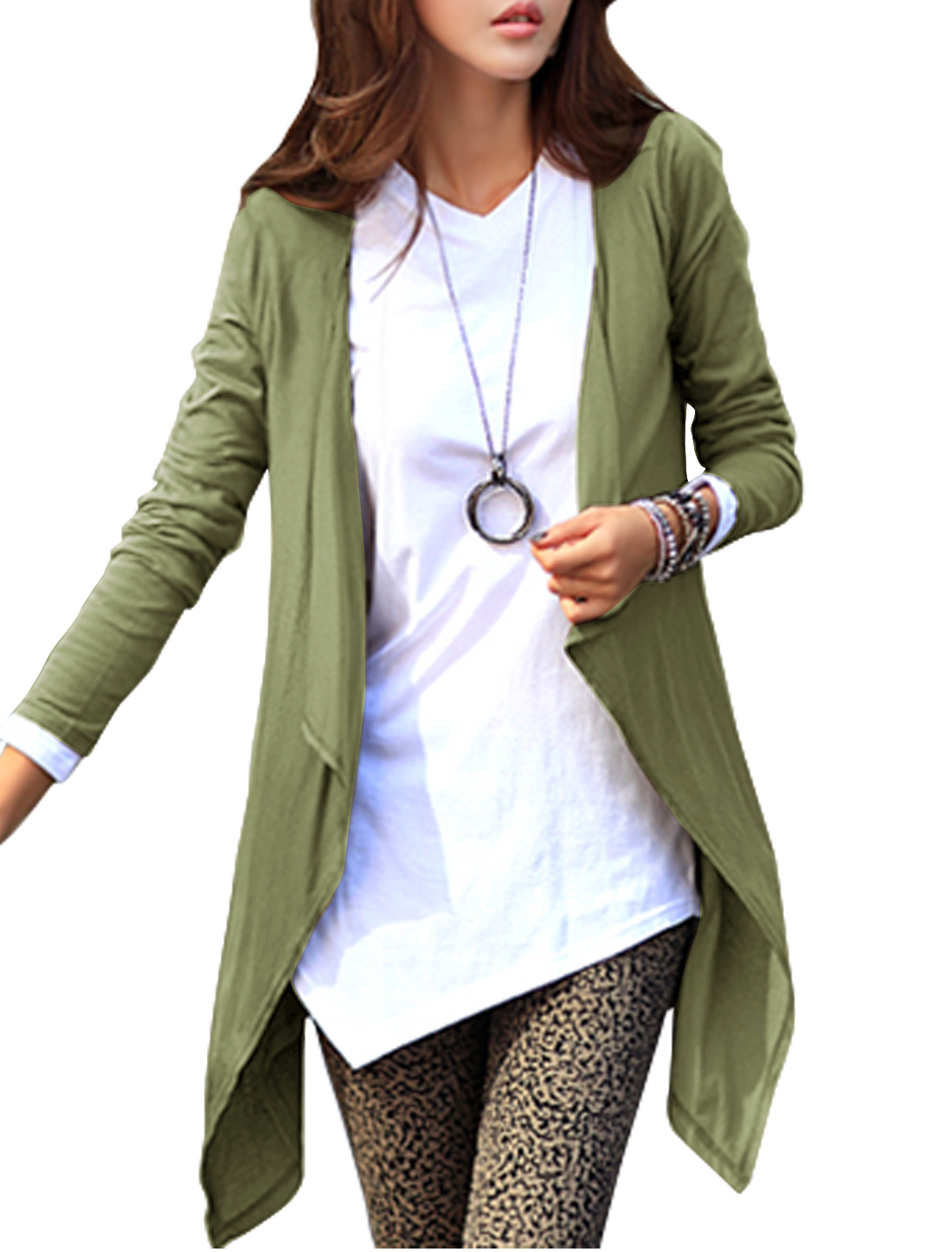 Women Long Sleeves Asymmetrical Hem Cardigan Moss S