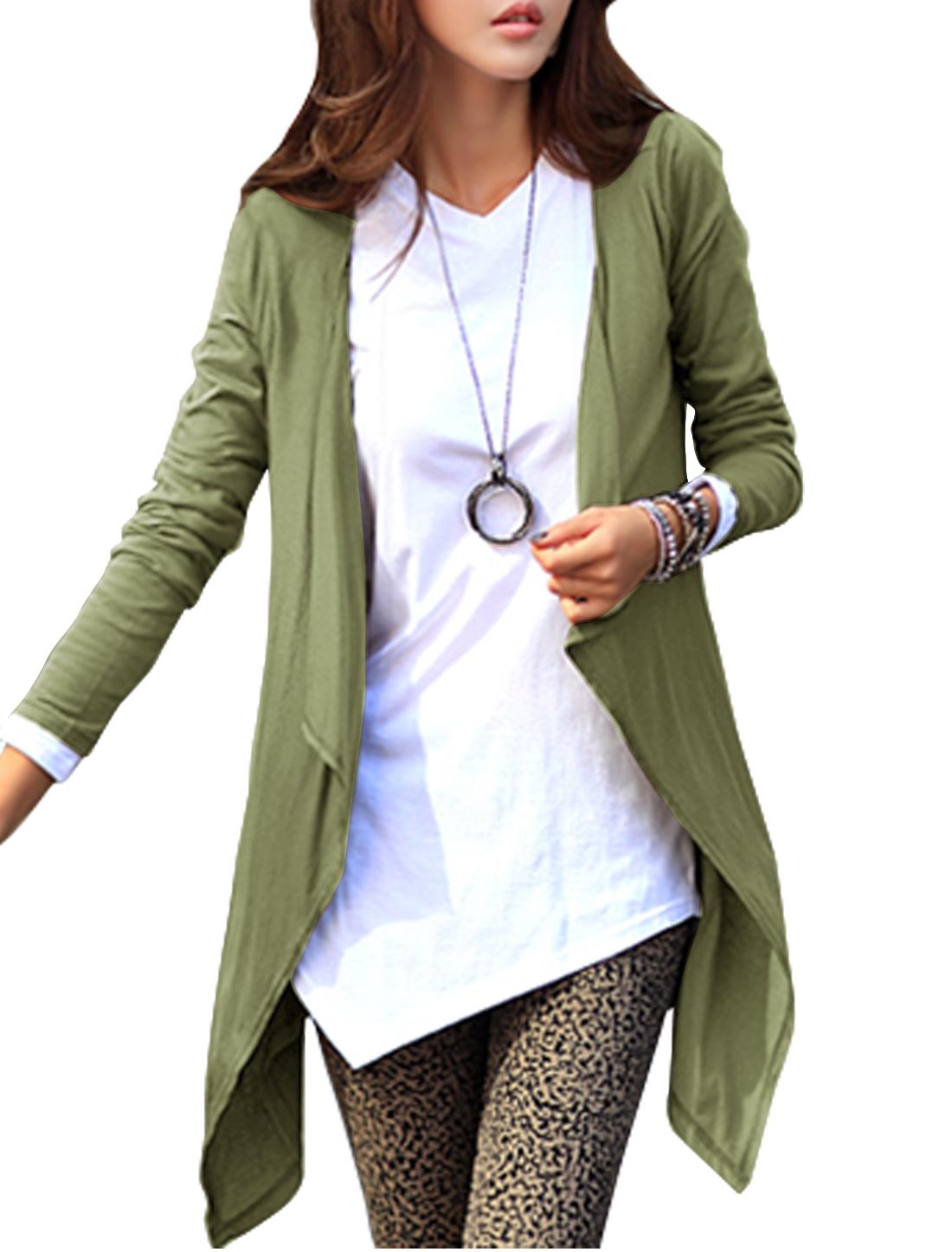 Women Long Sleeves Asymmetrical Hem Cardigan Moss S