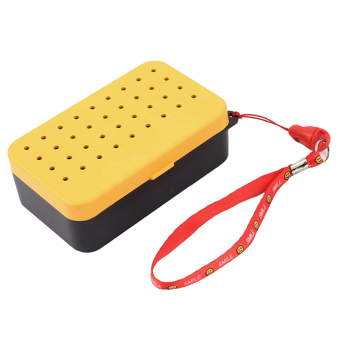 Yellow Black Plastic 2 Compartment Fishing Lure Bait Box Case w Neck Strap