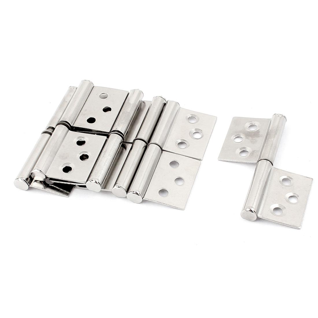 """6 Pcs Silver Tone Metal Two Leaves Window Cabinet Cupboard Door Hinges 3"""""""