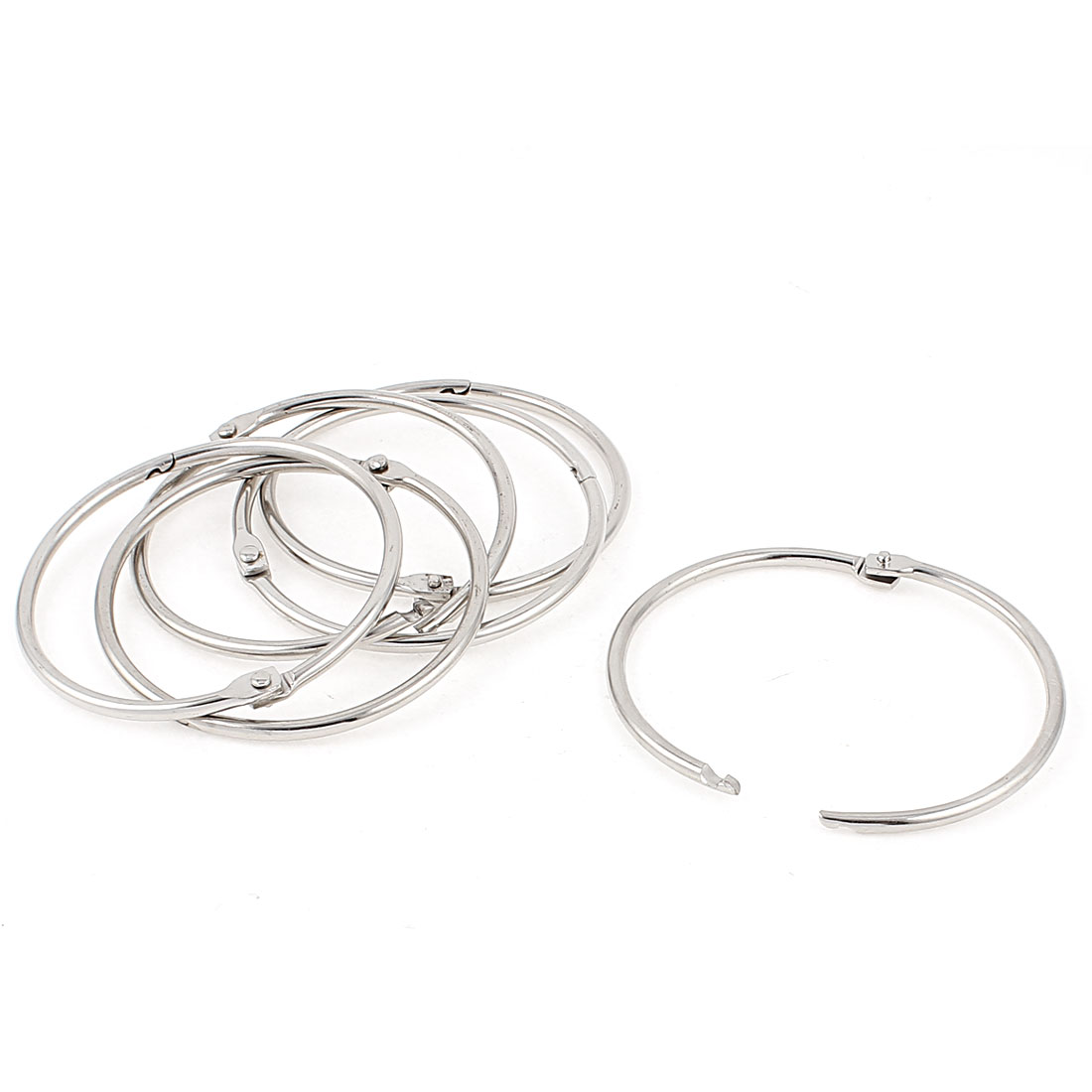 6 Pcs 71mm Diameter Silver Tone Metal Binder Craft Hinged Keyring Split Rings