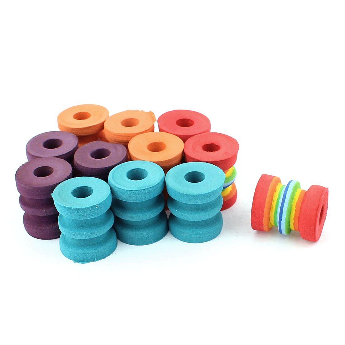 Assorted Color Round Foam Fishing Line Bobbin Spool Storage Ring 12 Pcs