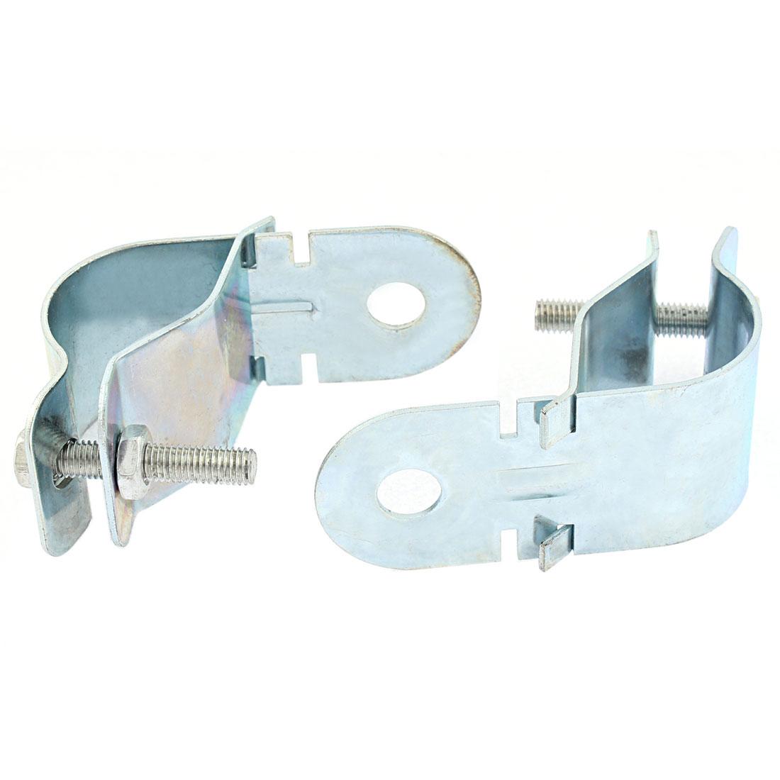 2 Pcs Silver Tone Metal Car Fog Light Headlamp Mounting Bracket Holder