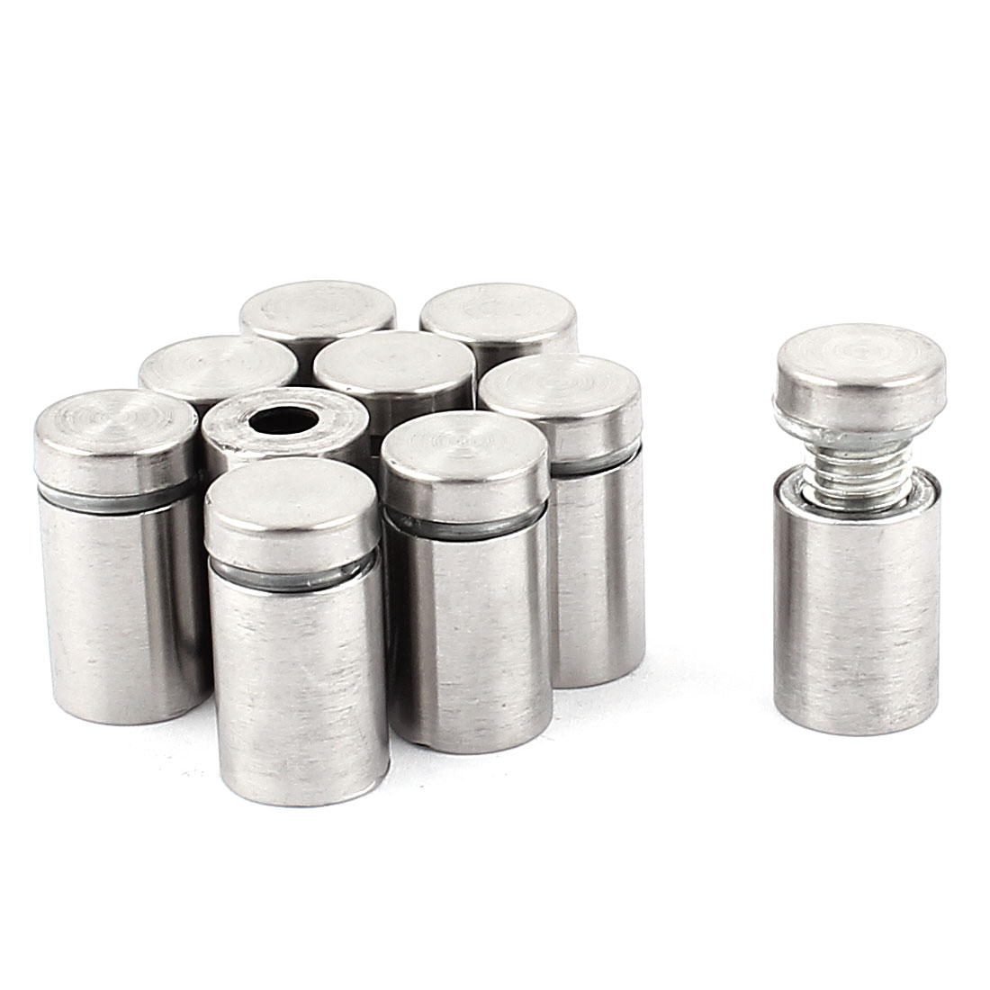 12mm x 22mm Silver Tone Metal Advertising Nail Glass Standoff Hardware 10 Pcs