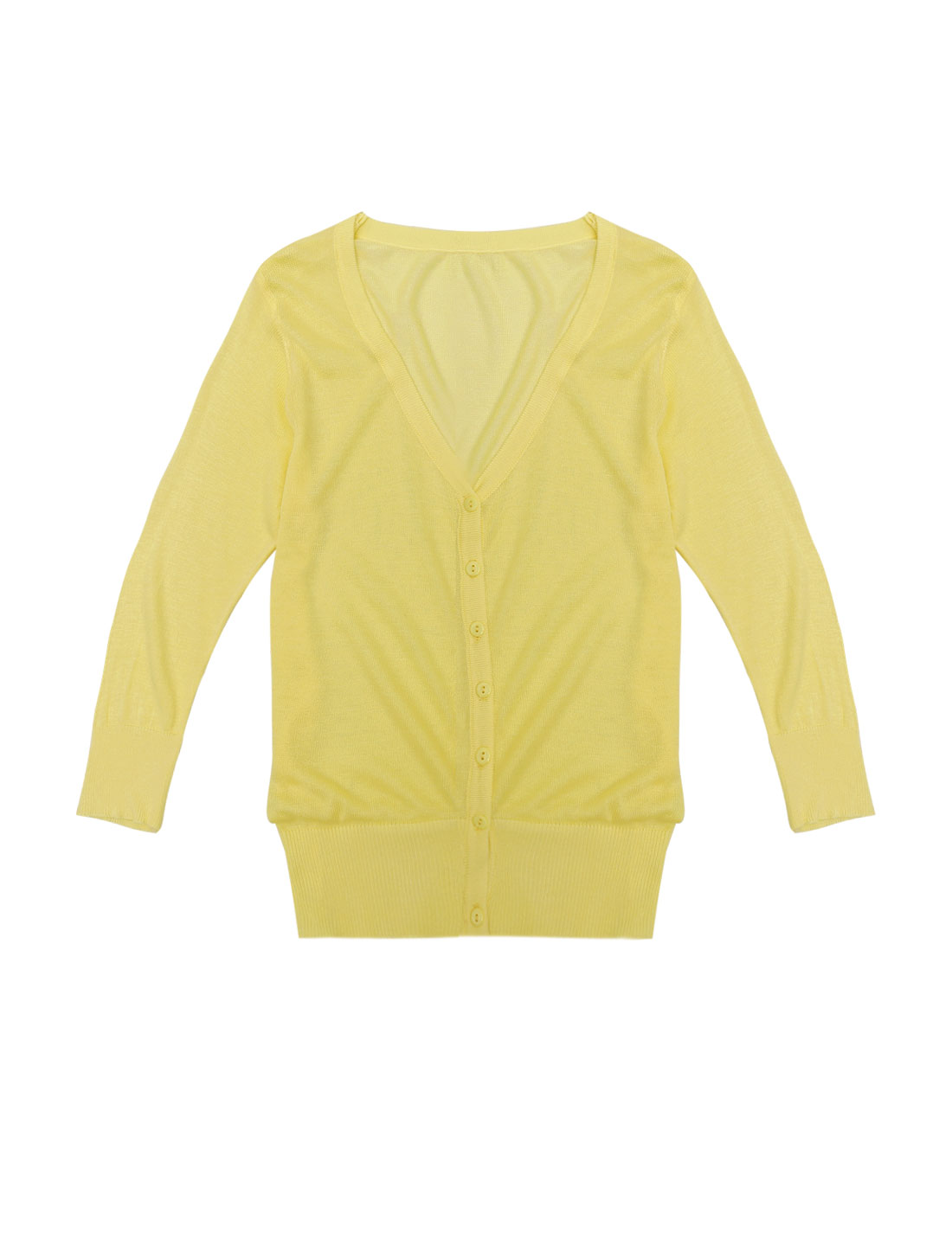 V Neck 3/4 Sleeves Single Breasted Knit Cardigan Yellow XS