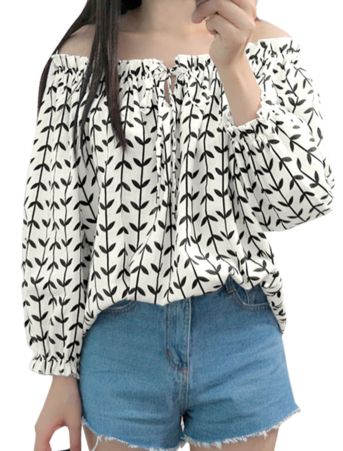 Ladies Off the Shoulder Elbow Sleeve Plant Print Casual Blouse Beige XS