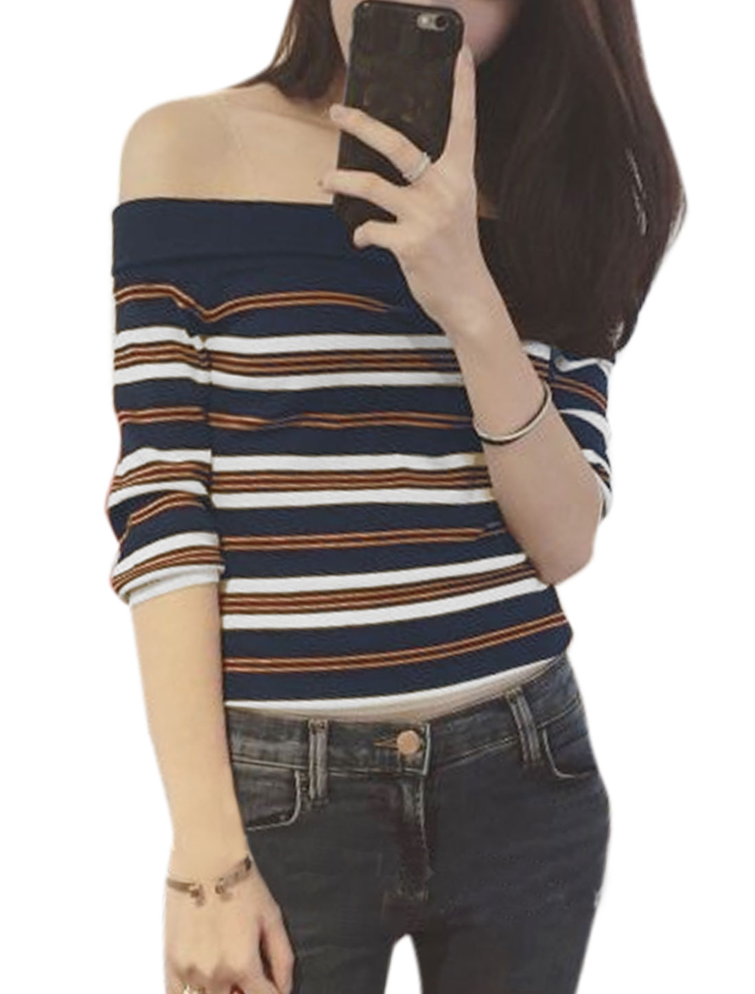 Woman Slim Off the Shoulder Stripes Knitting Shirt Navy Blue XS