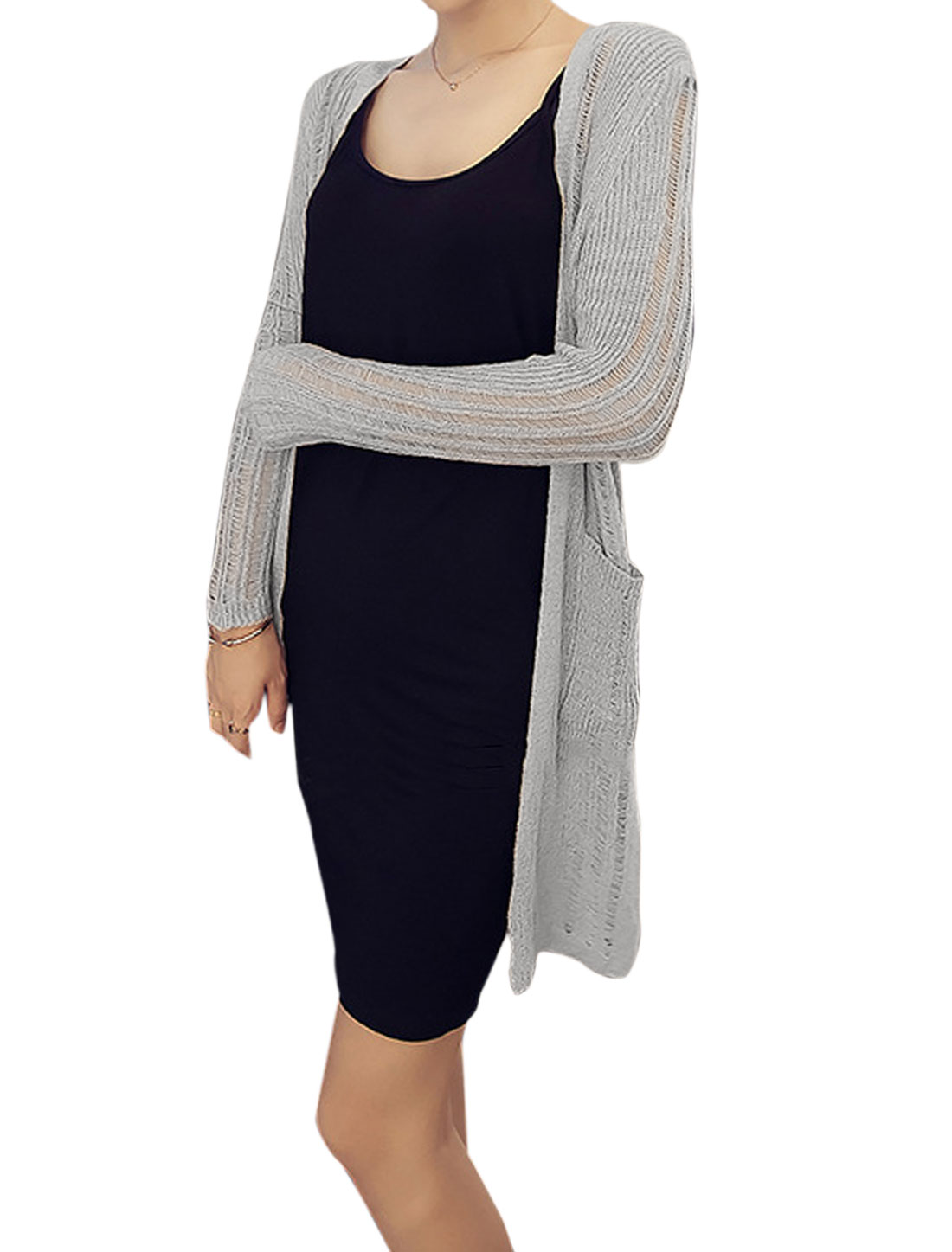 Women Front Opening Two Pockets Tunic Knit Cardigan Light Gray XS