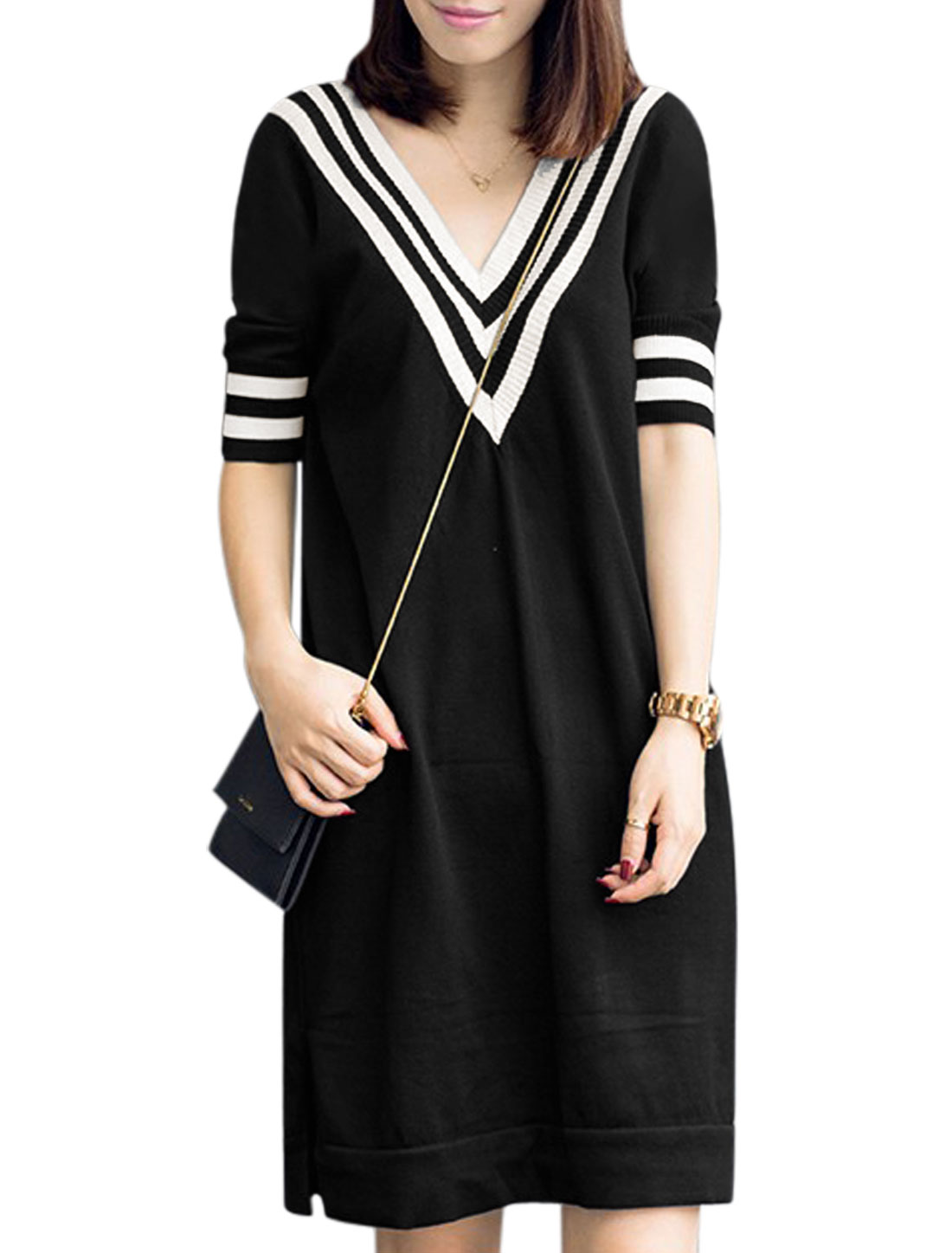 Woman Stripes Detail V Neck Elbow Sleeves Knitted Dress Black S