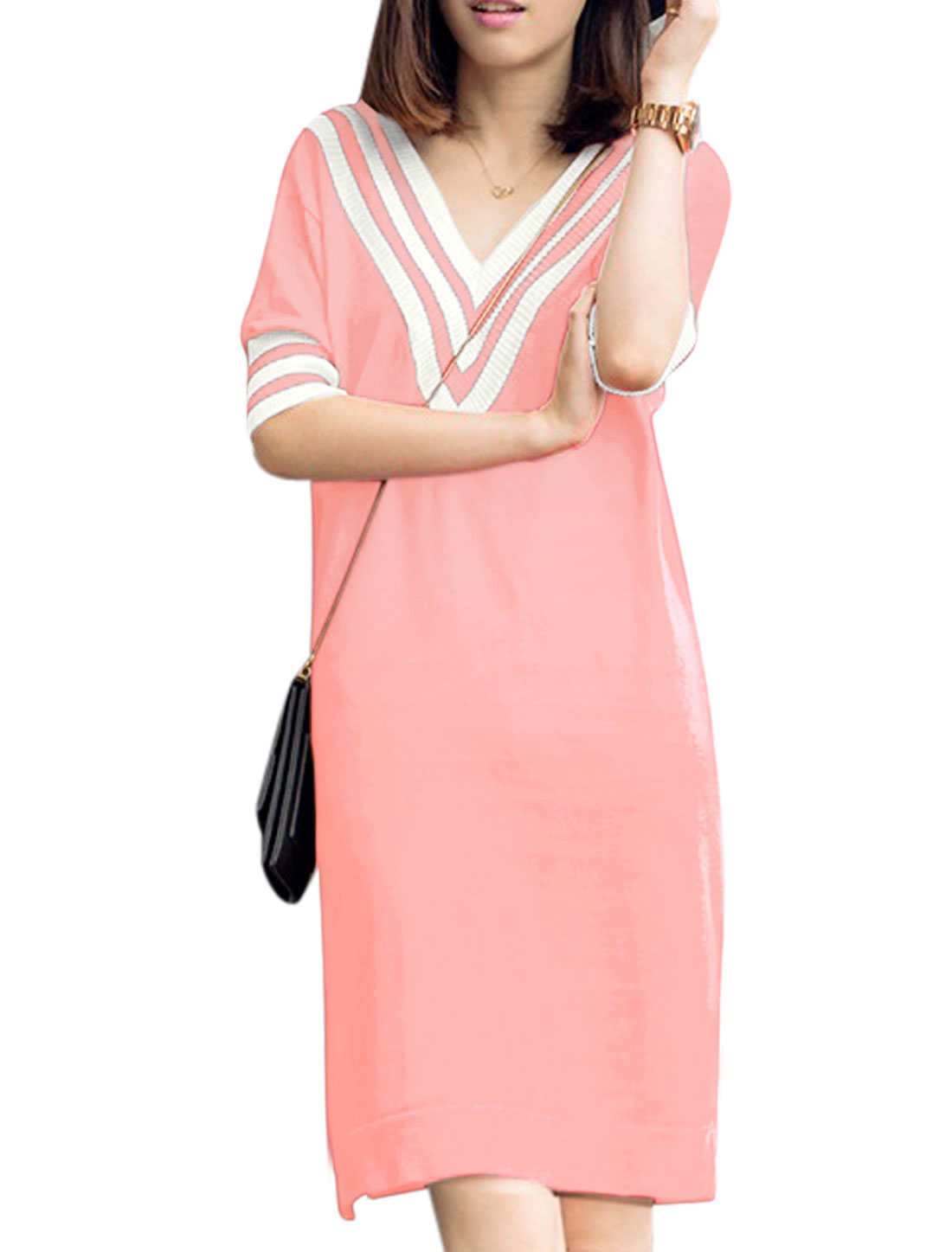 Woman Stripes Detail Half Length Sleeves Split Sides Knitted Dress Pink S