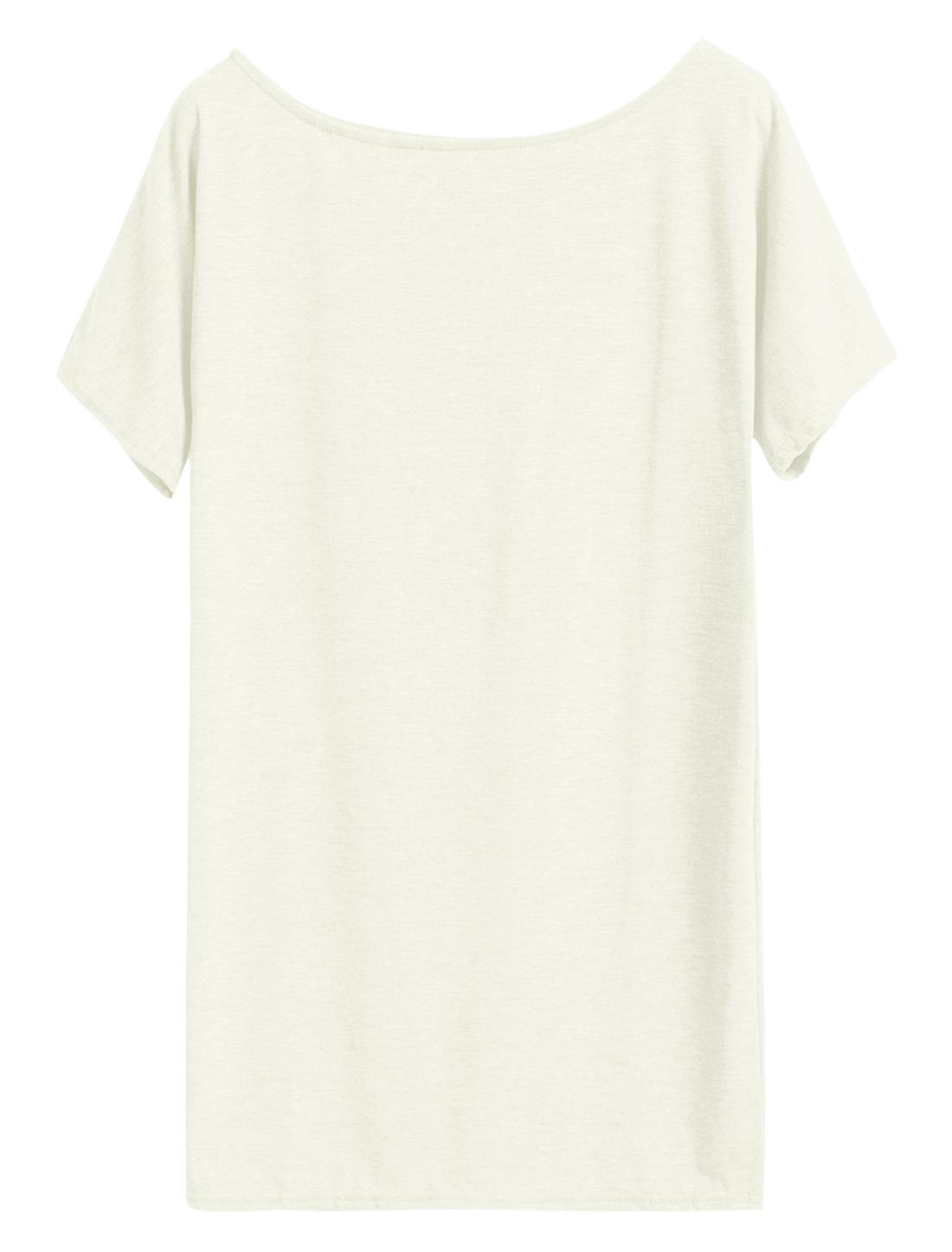Ladies Short Batwing Sleeve Scoop Neck Loose Tunic Top White M