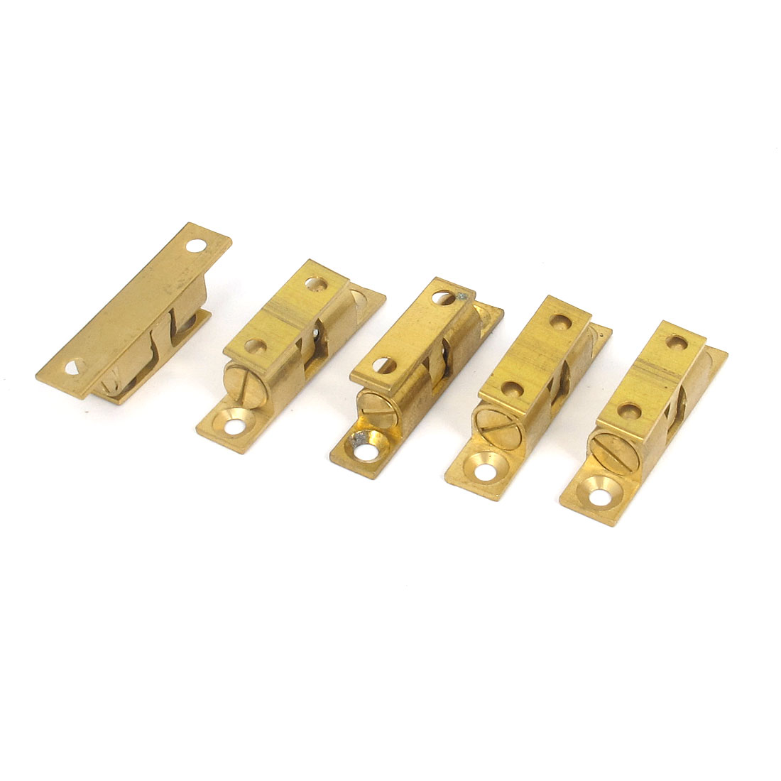 Door Cabinet Brass Double Ball Roller Catch Hardware 40mm Length 5 Pcs