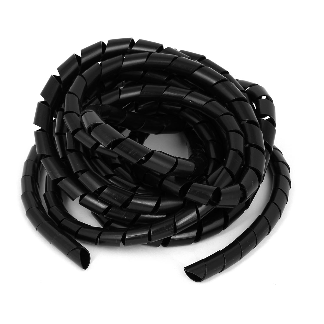 12mmx5.5m Spiral Cable Wire Wrap Tube Computer Cinema TV Management Cord Black