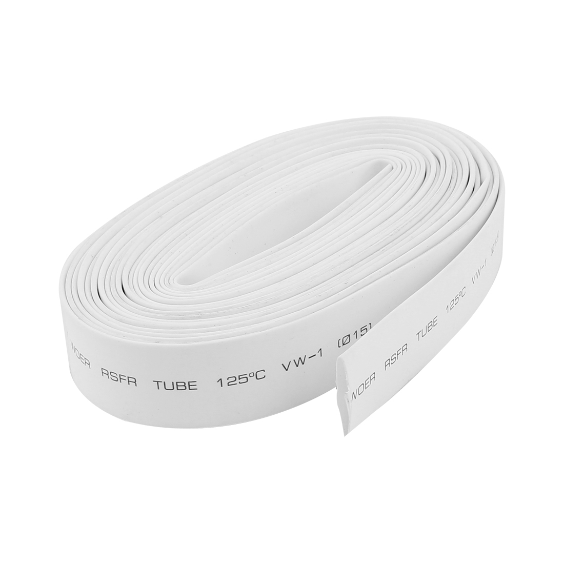 15mm Dia. Heat Shrink Wire Wrap Tubing Shrinkable Cable Sleeve White 5.6m Long