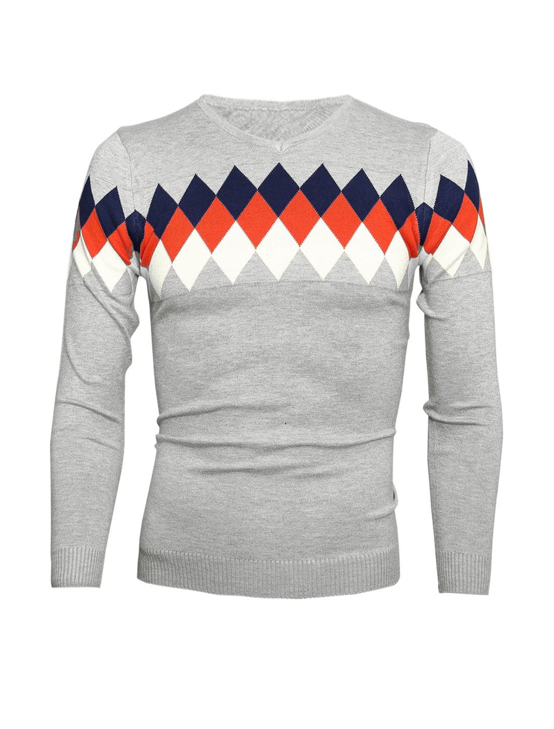 Men V Neck Long Sleeve Argyle Casual Jumper Light Gray S