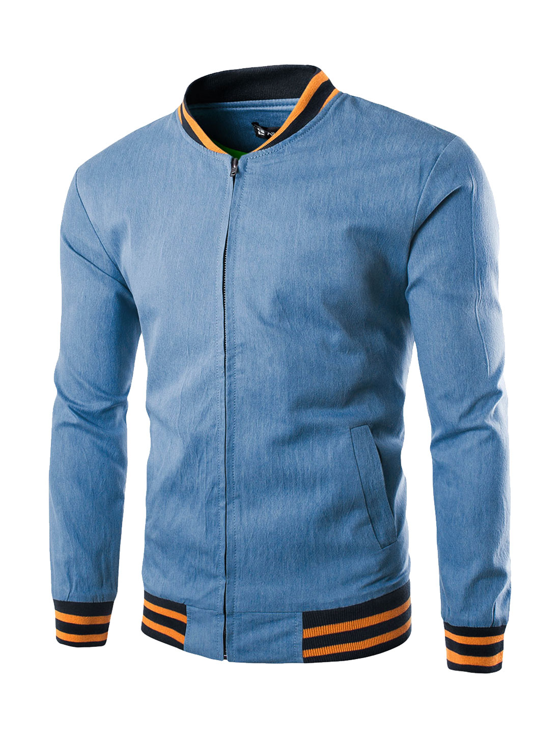 Men Long Sleeve Full Zipper Stand Collar Jersey Jacket Blue S
