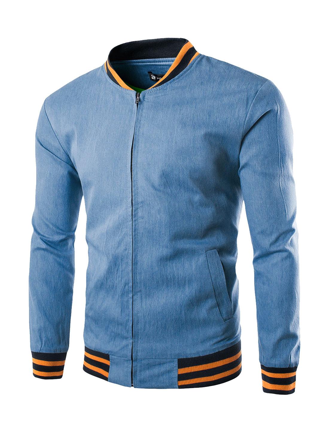 Men Long Sleeve Full Zipper Stand Collar Slim Fit Jacket Blue L