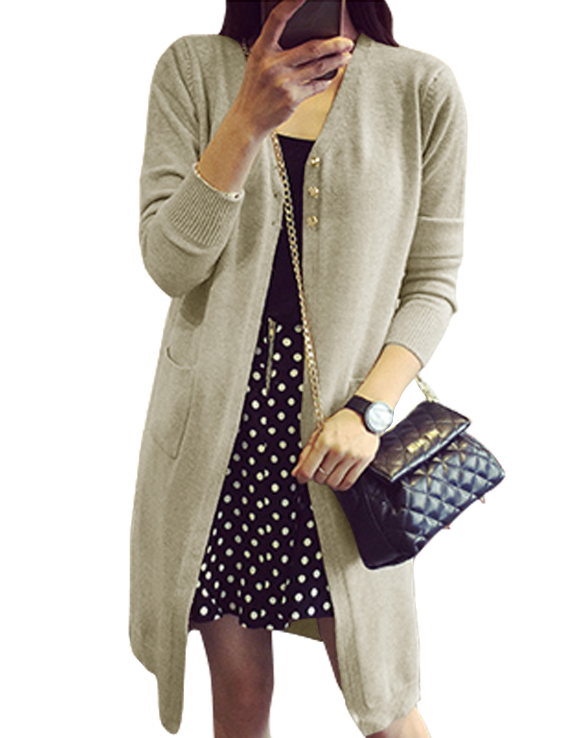 Women V Neck Two Pockets Front Longline Knit Cardigan Taupe S