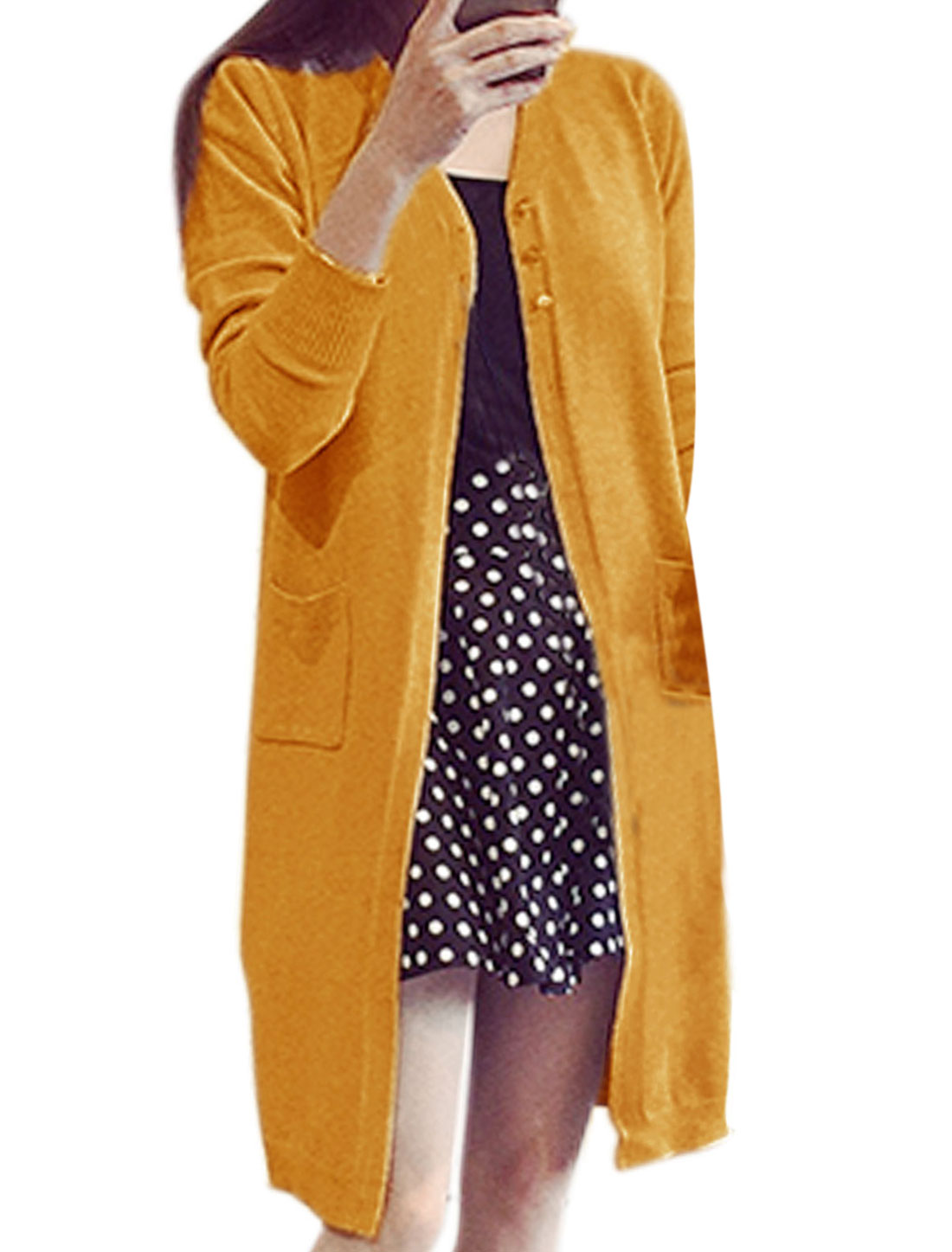 Women V Neck Buttons Closure Front Longline Knit Cardigan Ochre S
